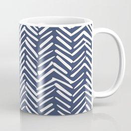 Boho Herringbone Pattern, Navy Blue and White Coffee Mug