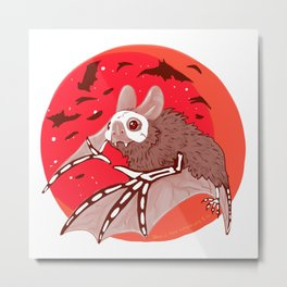 Bats over the Blood Moon  Metal Print