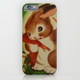 Hungry Little Bunny Vintage Illustration iPhone Case
