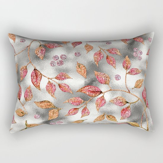 Autumworld- Sparkling pink  glitter leaves on silver background #Society6 Rectangular Pillow