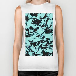 Turquoise Black Abstract Military Camouflage Biker Tank