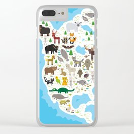 bison bat manatee fox elk horse wolf partridge fur seal Polar bear Pit viper snake Mountain goat Clear iPhone Case