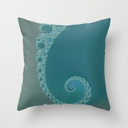 Simple Spiral Teal - Fractal Art  Throw Pillow