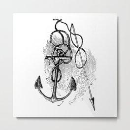 Anchor and harpoon. Metal Print