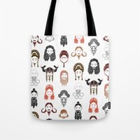middle earth Tote Bags featuring The Unwritten Lady Dwarves of Middle Earth by geeksweetie