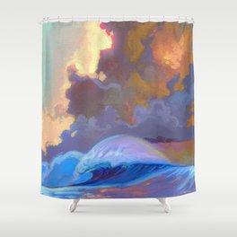 Sunset surf break Shower Curtain