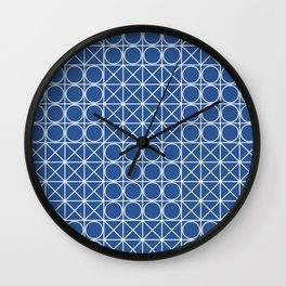 Geometric Tile Pattern Blue Wall Clock
