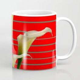 Chinese Red Striped Calla Lily Art Coffee Mug