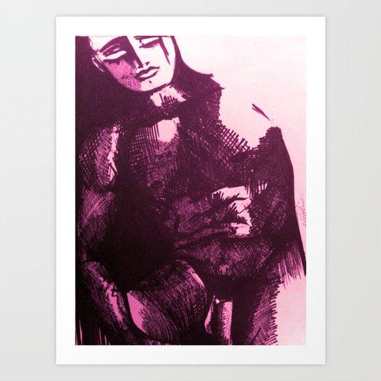 nude male pink Art Print