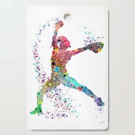 Baseball Softball Pitcher Watercolor Print Art Print Girl's Softball Painting Cutting Board