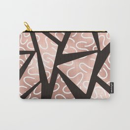 Modern Artsy Rose Gold Black Squiggly Triangle Geo Carry-All Pouch