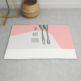 "Pink Funny Cute Hand Drawn ""Can We Make Spoons?""  Rug"