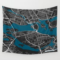 stockholm Wall Tapestries featuring Stockholm city map black colour by MCartography