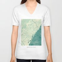 barcelona V-neck T-shirts featuring Barcelona Map Blue Vintage by City Art Posters