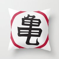 dragonball z Throw Pillows featuring Turtle School of Martial Arts Kanji, Dragonball Z by Larsonary
