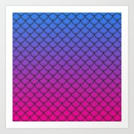 Vibrant Blue, Purple & Pink Gradient Mermaid Scales Art Print