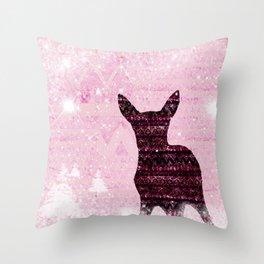 Rehkitz Pattern-Art in Snowland Throw Pillow