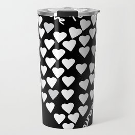 Hearts Heart Teacher White on Black Travel Mug