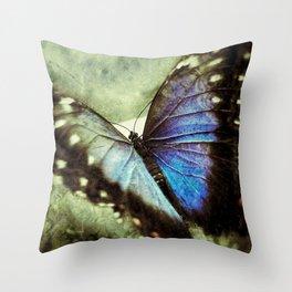 Butterfly Blue Throw Pillow