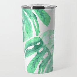 Watercolor Monstera Travel Mug