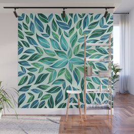 Summertime Blues Leaf Burst Wall Mural