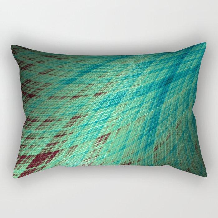 Run Off - Teal and Brown - Fractal Art Rectangular Pillow