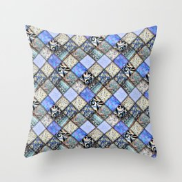 Faux Patchwork Quilting - Blues Throw Pillow