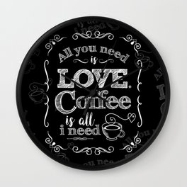 Love & Coffee (B&W Punk) Wall Clock