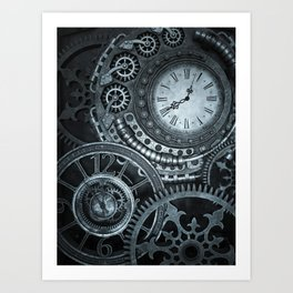 Silver Steampunk Clockwork Art Print