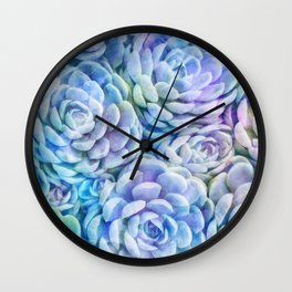 Rainbow succulents Wall Clock