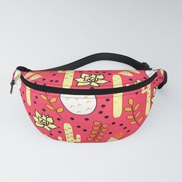 Cacti and butterflies in pink Fanny Pack