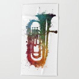 euphonium music art Beach Towel
