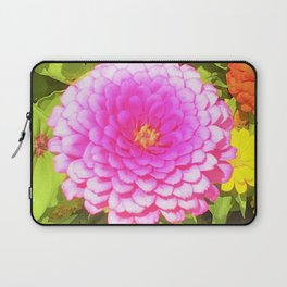 Pretty Round Pink Zinnia in the Summer Garden Laptop Sleeve