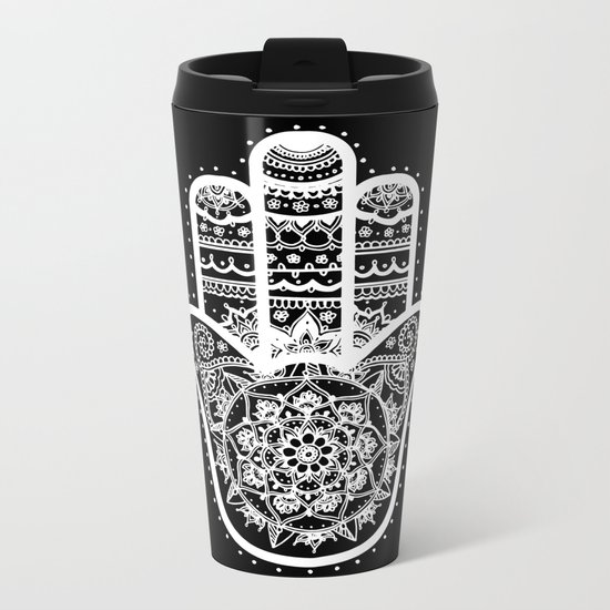 Black & White Hamsa Hand Metal Travel Mug