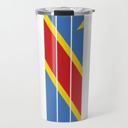 democratic republic of the congo Flag Colors in Stripes Travel Mug