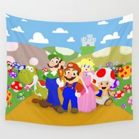 mario bros Wall Tapestries featuring Mario & friends by christopher-james robert warrington