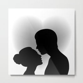 Couple with heart shaped background Metal Print