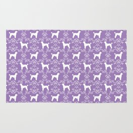 Poodle silhouette floral pattern minimal dog patterns for poodles owners lilac and white Rug
