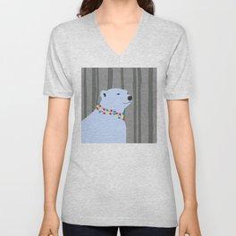 Polar Bear Holiday Design Unisex V-Neck