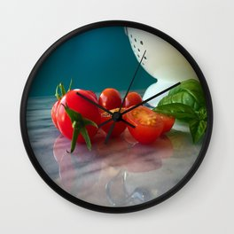 Fallen Cherry Tomatoes Wall Clock