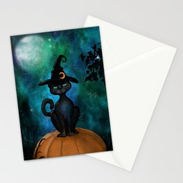 Witch's Familiar on a Pumpkin Stationery Cards