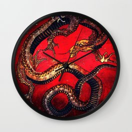 Hokusai Dragon I Wall Clock