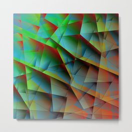 Abstract bright pattern of green and overlapping blue triangles and irregularly shaped lines. Metal Print