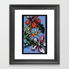 tropical flowers blue Framed Art Print