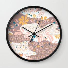 Peachy Floral Camo Wall Clock