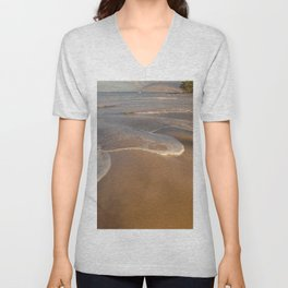 Gentle Waves on Beach Unisex V-Neck