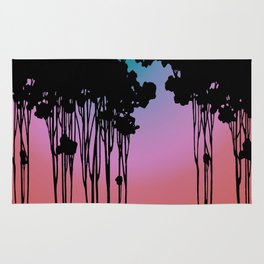 Forest Silhouette Sherbet Sunset by Seasons K Designs for Salty Raven Rug