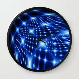 Glowing net fractal Wall Clock