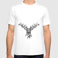 Henna Inspired Stag Head by Ashley-Rose Standish White Mens Fitted Tee MEDIUM