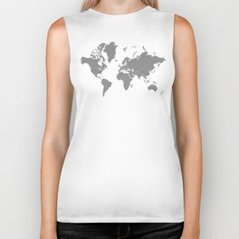 Minimalist World Map Gray on White Background Biker Tank
